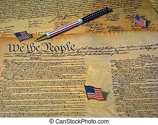 reposer, uni, constitution, accompagné, etats, drapeau, drapeaux, déclaration, pen., copie, indépendance