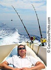 reposer, vacances été, marin, bateau pêche, homme
