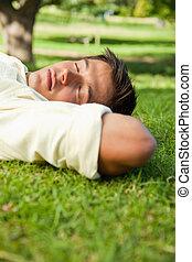 reposer, yeux, sien, tête, dessous, fermé, mains, herbe, côté, mensonge, homme