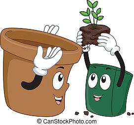 Mascot Illustration Featuring Pots Transferring Plants