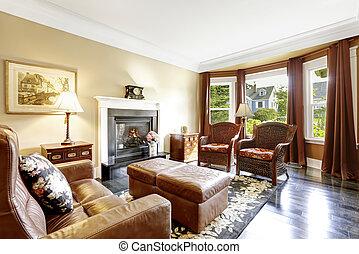 repouso luxuoso, interior, com, lareira, antigüidade, cadeiras, e, sofá couro