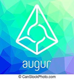 représentant, blockchain, monnaie, vecteur, logo, augur, cripto