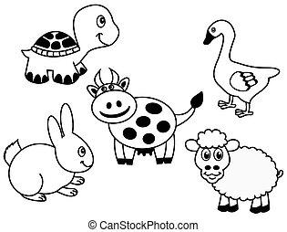 représentation, groupe, animal