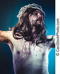 représentation,  jésus,  christ, sacré, croix