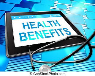 représente, avantages, illustration médicale, petits profits, santé, 3d