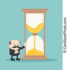 représente, business, offrande, chef, followers., temps, homme, sablier