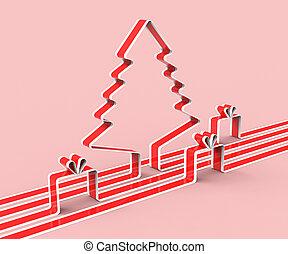 représente, félicitation, arbre, année, nouveau, noël