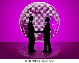représente, fonctionnement, globe, association, ensemble, coopération