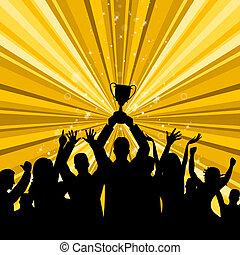 représente, gagner, gagnant, endroit, célébrer, premier