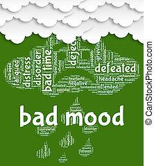 représente, humeur, chagrin frappé, mauvais, colère