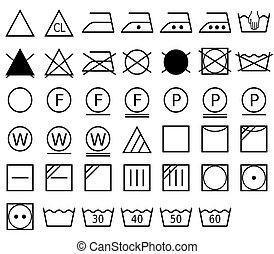 représente, lessive, format, pictogramme, symbole, aussi, vecteur, appelé, washing., méthode, soin