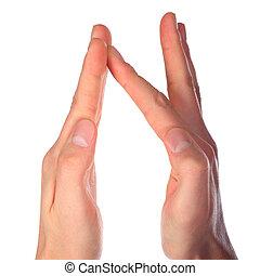 représente, mains, n, lettre, alphabet