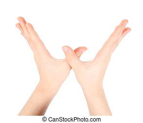 représente, mains, w, lettre, alphabet