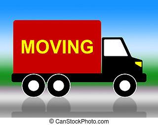 représente, maison, en mouvement, adresse, camion, changement