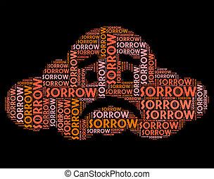représente, mot, déprimé, chagrin, cassé hearted