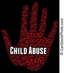 représente, non, mistreat, arrêt, abus, enfant, enfance