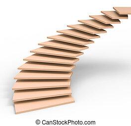 représente, objectifs, monter, avenir, escalier, vision
