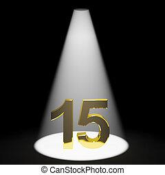 représente, or, nombre, anniversaire, anniversaire, quinze, ou, 15e, 3d