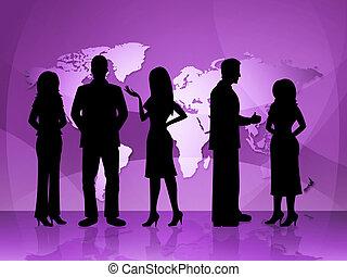 représente, professionnels, businesspeople, carte, mondiale