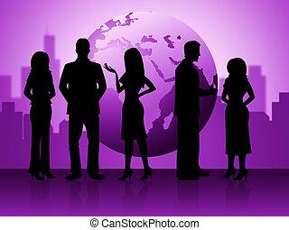 représente, professionnels, globalisation, hommes affaires, constitué