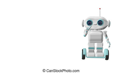représente, scooter, robot, animation, canal alpha, 3d