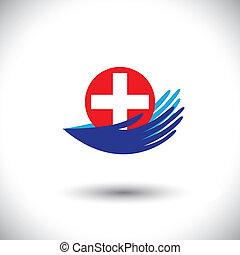représenter, concept, aimer, femme, graphic-, concepts médicaux, illustration, etc, systèmes, vecteur, santé, plus, mains, healthcare, protéger, assurance, symbol(icon)., santé, boîte