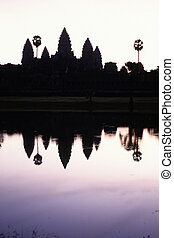 représenter, construit, siècle, 12e, monter, récolter, sunrise-, ruiné, meru, cambodia., siem, complexe, wat, ruines, temple, angkor, silhouetted