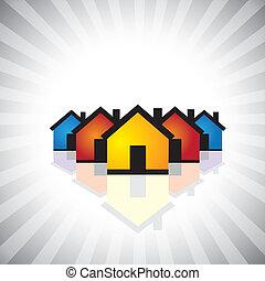 représenter, industrie, propriété, graphic., icon(symbol)-, &, aussi, propriété, vrai, vente, illustration affaires, construction, realty, houses(homes), coloré, achat, ceci, etc, vecteur, boîte, ou