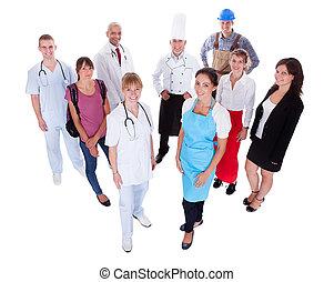 représenter, professions, divers, groupe, gens