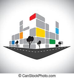 représenter, structures, bureau, gratte-ciel, haut-ascension, banques, hôtels, ville, -, aussi, skyline., urbain, commercial, super, icône, bâtiment, horizons, graphique, ceci, centres, etc, vecteur, boîte