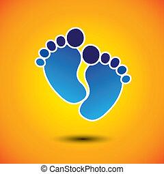 représenter, toddler's, école, bébé, graphic., bébé, crèche, bleu, &, -, marque, orange, jeu, pré-école, illustration, tout petits enfants, fond, soin pied, gosses, ceci, centres, etc, vecteur, boîte, ou