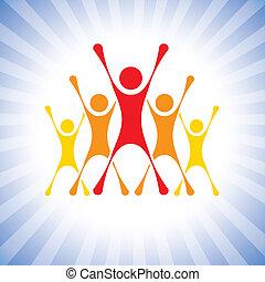 représenter, vecteur, victoire, gens, etc, frissonnant, graphic., équipe, ceci, illustration, défi, aussi, personnes réussit, vainqueurs, personnes réussit, boîte, membres, célébrer, super, excité, competition-