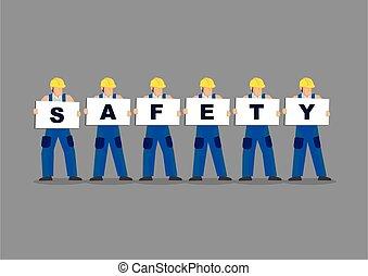 représenter, working., illustration, concept, sécurité, cartes, ouvriers, conseil blanc, construction, tenue