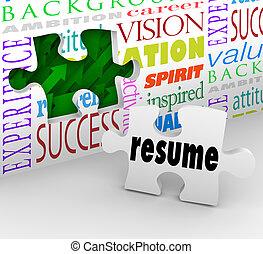 reprendre, ouverture, expérience, métier, position, entrevue, nouveau, remplir