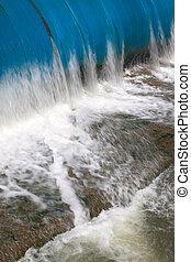 represa água, borracha, rio, fluir