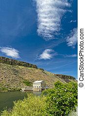 represa, boise, diversão, dramático, rio, nuvem