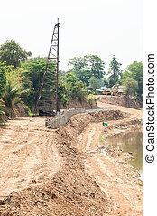 represa, construção, riverbank