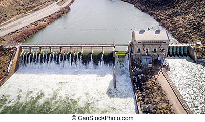 represa, diversão, Rio,  Idaho,  Boise