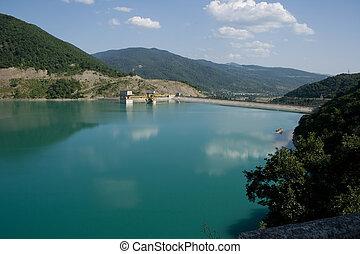 represa, georgia., -, zhinvali, lago