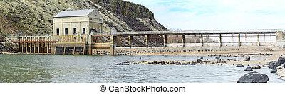 represa, histórico, Rio,  Idaho
