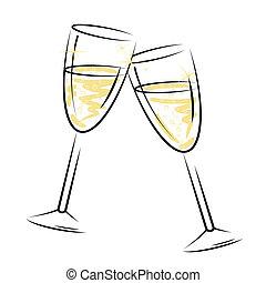 representa, alcohol, anteojos, brillante, champaña, vino