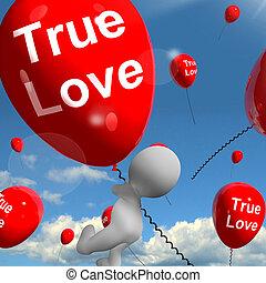 representa, amantes, amor, balões, pares, verdadeiro