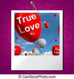 representa, amantes, amor, foto, pares, verdadeiro, balões