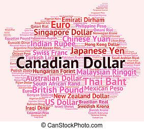 representa, canadiense, intercambio, dólar, extranjero, billetes de banco