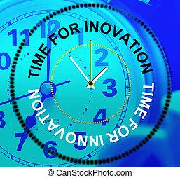 representa, conceptos, crear, innovación, creatividad, tiempo