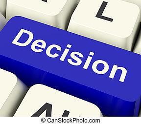 representa, decisión, incertidumbre, llave computadora, en línea, elaboración, decisiones