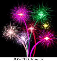 representa, explosão, cor, fogos artifício, fundo, comemorar