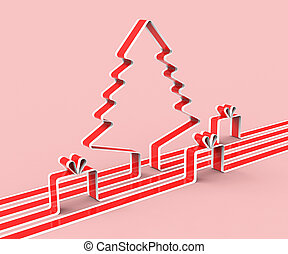 representa, felicitación, árbol, año, nuevo, navidad