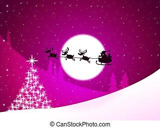 representa, felicitación, árbol, navidad, feliz navidad