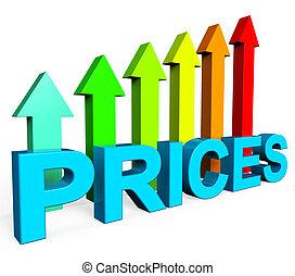 representa, financiero, aumento, precios, diagrama, informe